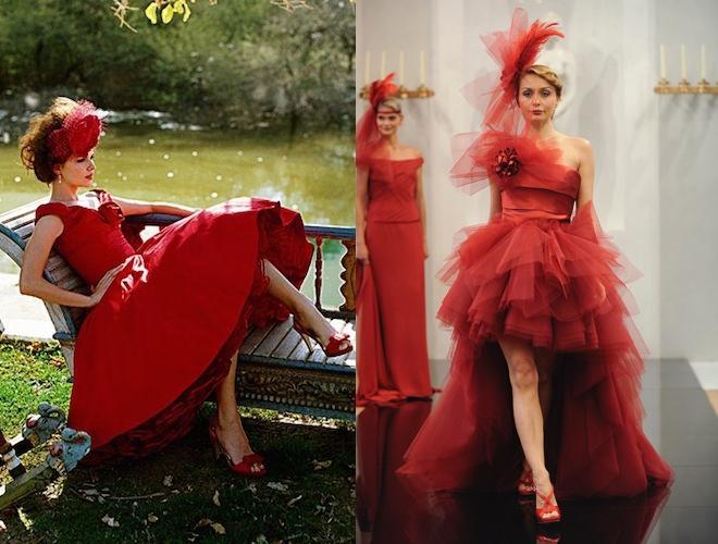 abito da sposa e scarpe  rosse