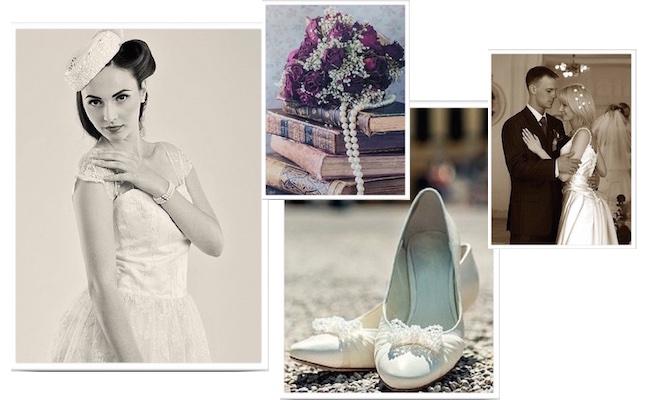 scarpe abito sposa vintage collage