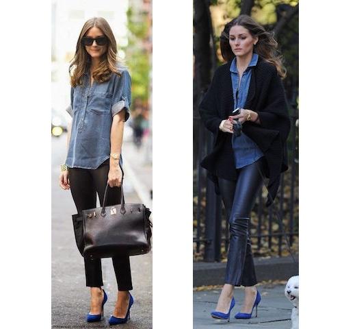 Olivia Palermo scarpe blu