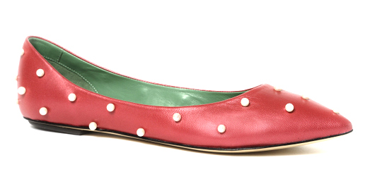 ballerine rosse con perle