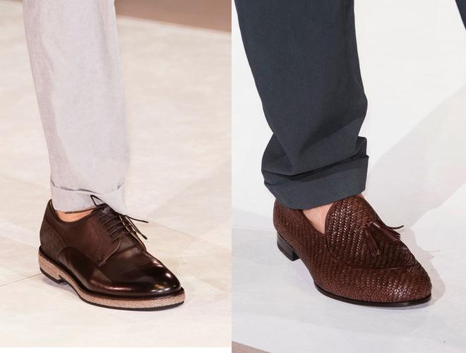 scarpe marroni e pantaloni Armani uomo