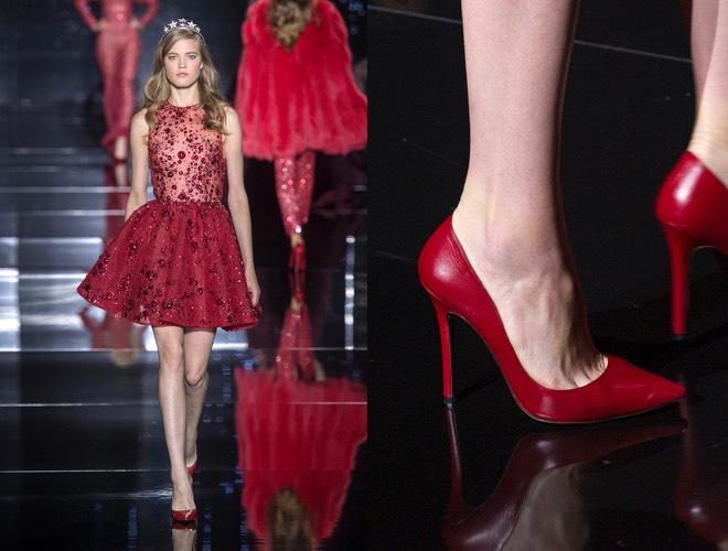 Abito e scarpe rosse inverno 2016