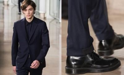 abito blu uomo scarpe nere Hermes