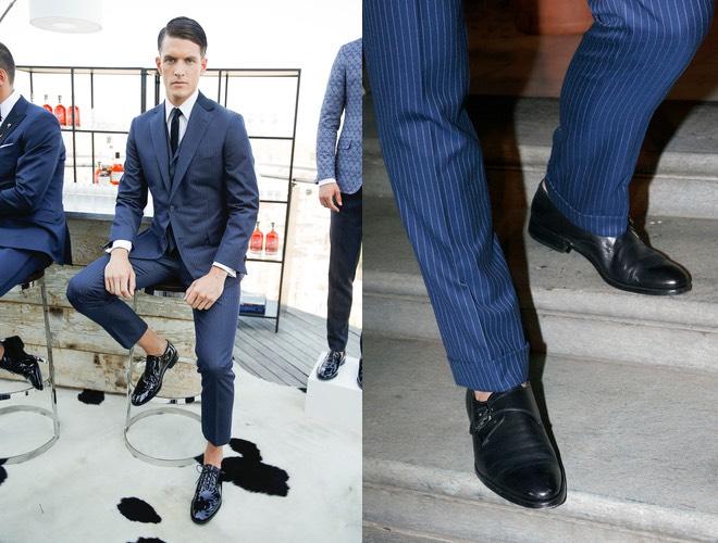 Vestito blu scarpe nero