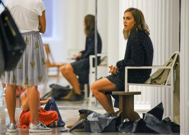 Jessica Alba spotted shopping at 'Yves Saint Laurent' in SoHo, New York City