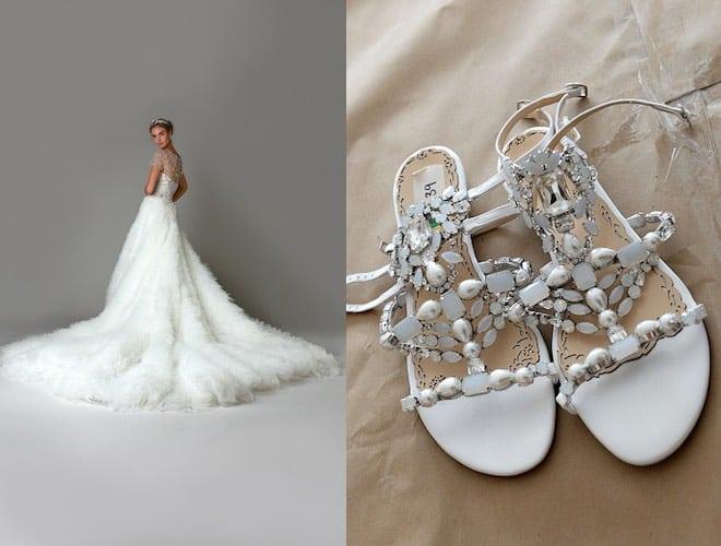 Marchesa scarpe e abito sposa inverno 2016-2017