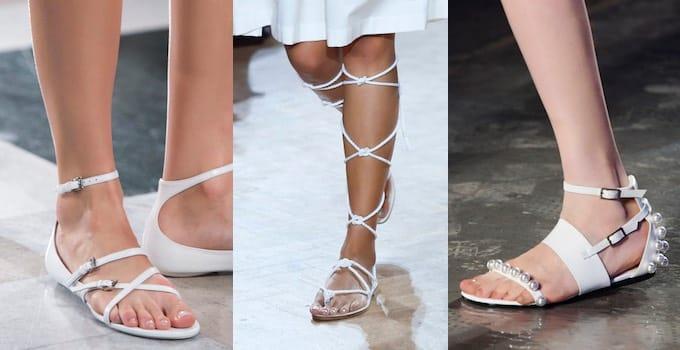 Sandali bianchi bassi estate 2016