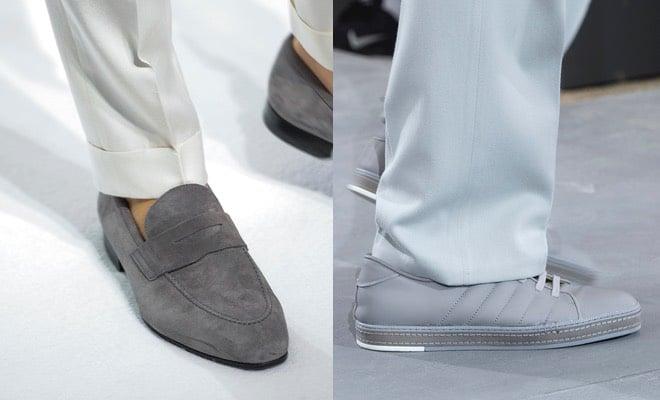 pantaloni e scarpe grigie uomo