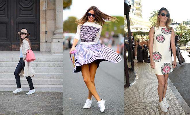 abbinamenti con scarpe sneakers alte donna