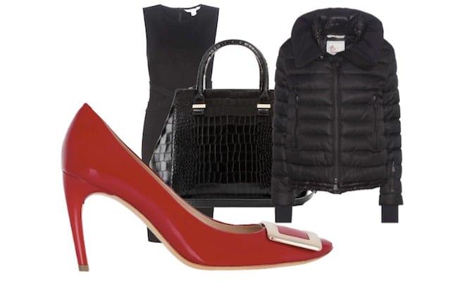 scarpe-rosse-abito-borsa-nera