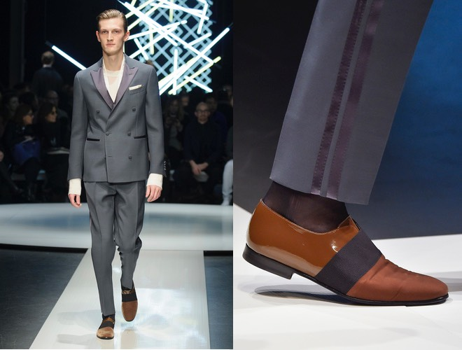 Abito uomo blu con scarpe marroni