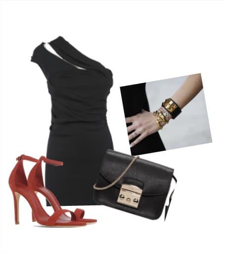 vestito-nero-corto-sandali-rossi-abbinamento