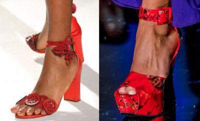 Sandali rossi estivi-zeppe tacco