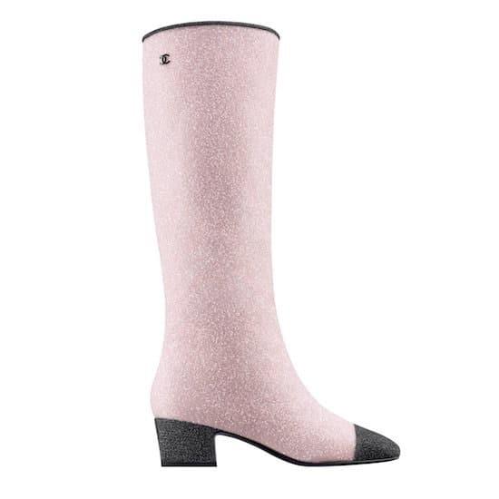stivali chanel glitter rosa