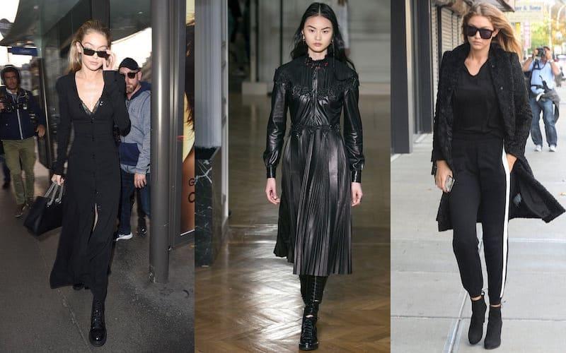 Stivali neri vestiti neri abbinamento