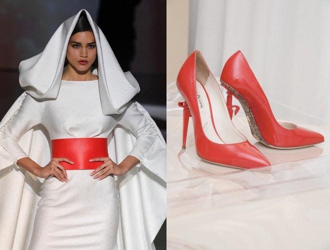 sposa 2018 scarpe rosse abito bianco-tendenze