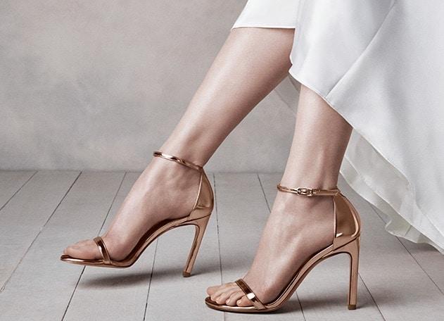 sandali sposa 2018 oro rosa stuart weitzman