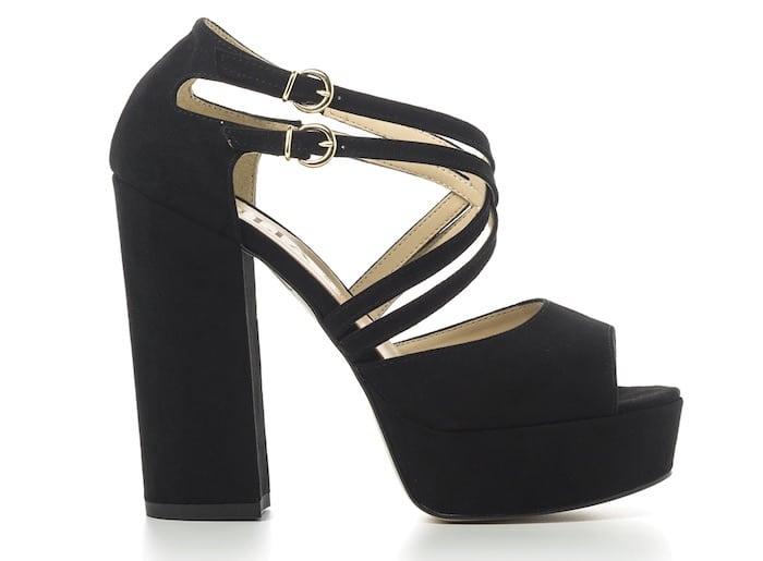 pittarosso sandalo nero alto plateau