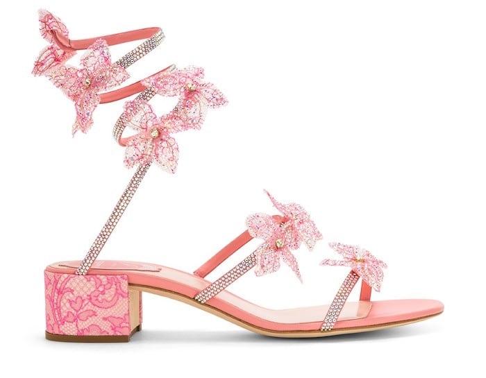 sandalo con fiori rene caovilla estate 2018