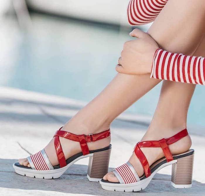 2017 Con 2018 Colore Argento Sandalo Geox Tacco Bianco Medio