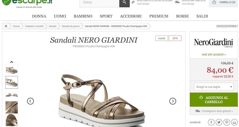escarpe sandali nero giardini estate 2018