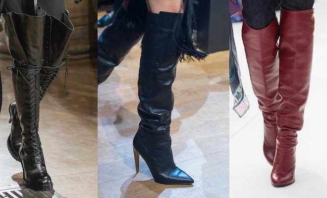 Stivali sopra al ginocchio in pelle