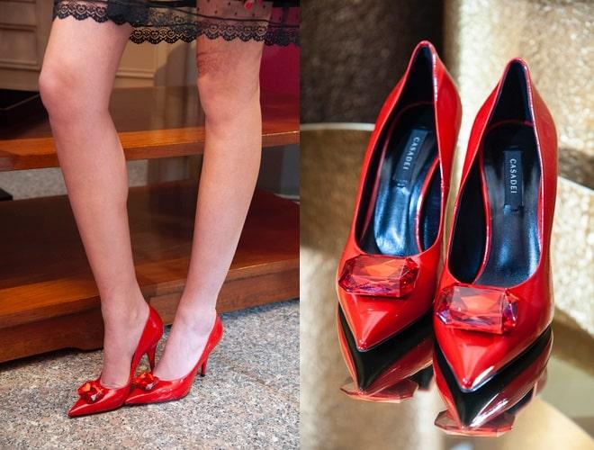 scarpe rosse con tacco Casadei autunno inverno 2029-2020